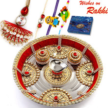 Red Crystal Beads & Gold Motifs Rakhi Pooja Thali with  Family Rakhi Set - RTH1703