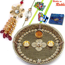 Gold Base & Crsytal Beads Studded Rakhi Pooja Thali with  Family Rakhi Set - RTH1704