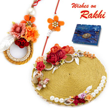 Amazing Floral Motif Rakhi Pooja Thali with  Family Rakhi Set - RTH1705