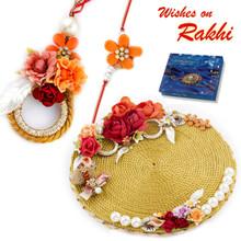 Amazing Floral Motif Rakhi Pooja Thali with  Family Rakhi Set - RTH1705