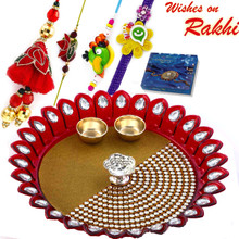 Lovely Crystal Stone Studded Rakhi Pooja Thali with  Family Rakhi Set - RTH1706