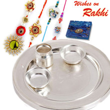 Simple & Elegant Silver Base Rakhi Pooja Thali with  Family Rakhi Set - RTH1709