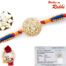 Beautiful Real Diamond Studded Gold Plated OM Rakhi - GPRS171212