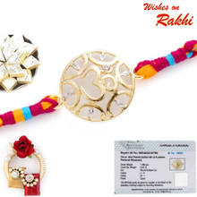 Beautiful Gold Plated Omkar Rakhi with Real Diamond stud - GPRS171213