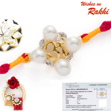 Sunshine OM Real Diamond stud Gold Plated Rakhi - GPRS171215