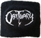 Black wrist band with white Obituary logo.