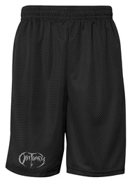 Black Shorts with Silver Obituary Logo
