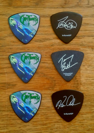 """Trevor, Kenny & Terry - Slowly We Rot 30th Anniversary"" Signature Guitar Picks"