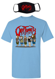 "Cartoon Obituary ""Stay Safe, Stay Metal"" Light Blue T-Shirt & Facemask"
