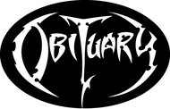 Obituary White Logo - Vinyl Oval Sticker