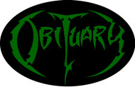 Obituary Green Logo - Vinyl Oval Sticker