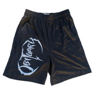 Black Shorts with Large, Silver Obituary Logo
