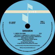 "Sinnamon - I Need You Now - 12"" Vinyl"