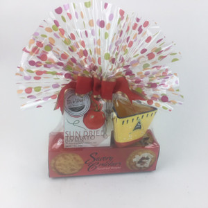 Crackers, dip and dish wrapped.  Mini whisk included