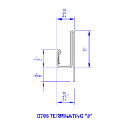 "1/4"" Panel Terminating ""J"" Mold Aluminum Trim x 10' LG"