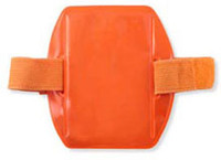 R504-ARNO Reflective Orange Vertical Arm Band Badge Holder W/ Orange Strap - Credit Card Size - Qty. 25