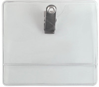 "504-J Clear Plastic Convention size badge holder w/clip 4"" x 3"" - Qty. 100"