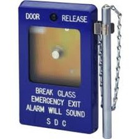 "491 SDC ""Break Glass"" Emergency Door Release with Siren, 1-Gang, Blue, DPDT, 10 Amp - Qty. 1"