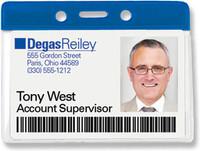 1820-1002 Blue Horizontal Vinyl Color-bar Badge Holder - Data/credit Card Size - Qty. 100
