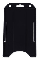 1840-8161 Black Rigid Open-Face Vertical Card Holder - Vertical Side Load with Slot/Chain Holes - Qty. 100