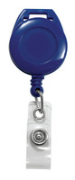 2120-7504 Royal Blue Lanyard Badge Reel W/ Clear Vinyl Strap. - Qty. 100