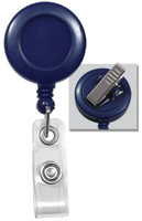 2120-7602 Blue Badge Reel W/ Clear Vinyl Strap & Swivel Spring Clip - Qty. 100