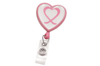 2120-7630 Pink Badge Reel W/ Domed Awareness Label, Clear Vinyl Strap & Swivel Spring Clip - Qty. 100