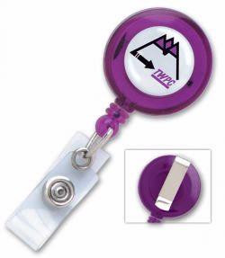 PV-2120303 Solid Color Round Custom Printed Plastic Clip-On Pull Reel -  Qty  100
