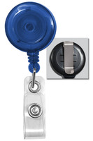 2120-3602 Translucent Blue Badge Reel W/ Clear Vinyl Strap & Belt Clip - Qty. 100