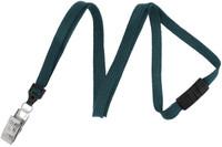 "2137-6018 Teal 3/8"" (10 mm) Flat Braid Breakaway Woven Lanyard W/ A Universal Slide Adapter & Nickel-plated Steel Bulldog Clip - Qty. 100"
