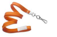 """2137-5005 Orange 3/8"""" Flat Braid Breakaway Woven Lanyard W/ A Universal Slide & NPS Hook - Qty. 100"""