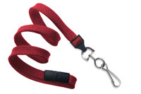 """2137-5006 Red 3/8"""" Flat Braid Breakaway Woven Lanyard W/ A Universal Slide Adapter &  NPS Hook - QTy. 100"""
