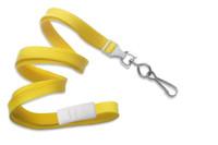 "2137-5009 Yellow 3/8"" Flat Braid Breakaway Woven Lanyard W/ A Universal Slide & NPS Hook - Qty. 100"