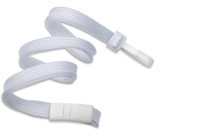 "2137-4125 White 3/8"" Flat Braid Breakaway Woven Lanyard W/ Narrow Plastic Hook - Qty. 100"