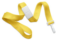 "2138-4130 Yellow 5/8"" Microweave B/A Lanyard W/ Narrow ""no-twist"" Plastic Hook - Qty. 100"