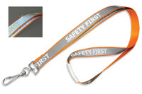 "2135-2529 Orange 5/8"" Reflective Lanyard W/ ""Safety First"" Imprint & Nickel-plated Steel Swivel Hook - Qty. 100"
