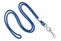"2135-3002 Royal Blue Round 1/8"" Standard Lanyard W/ Nickel Plated Steel Swivel Hook - Qty. 100"