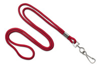 "2135-3006 Red Round 1/8"" Standard Lanyard W/ Nickel Plated Steel Swivel Hook - Qty. 100"