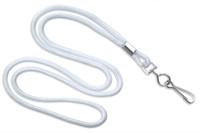 "2135-3008 White Round 1/8"" Standard Lanyard W/ Nickel Plated Steel Swivel Hook - Qty. 100"
