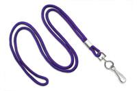 """2135-3013 Purple Round 1/8"""" Standard Lanyard W/ Nickel Plated Steel Swivel Hook - Qty. 100"""