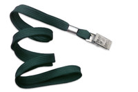 "2135-3564 Forest Green 3/8"" Flat Braid Woven Lanyard W/ Nickel-plated Steel Bulldog Clip - Qty. 100"