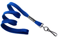"2135-3772 Royal Blue 3/8"" Flat Braid Woven Lanyard W/ Black-oxide Swivel Hook - Qty. 100"
