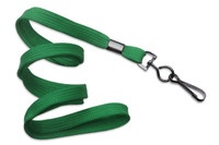 "2135-3774 Green 3/8"" Flat Braid Woven Lanyard W/ Black-oxide Swivel Hook - Qty. 100"