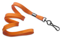 "2135-3775 Orange 3/8"" Flat Braid Woven Lanyard W/ Black-oxide Swivel Hook - Qty. 100"