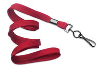 "2135-3776 Red 3/8"" Flat Braid Woven Lanyard W/ Black-oxide Swivel Hook - Qty. 100"