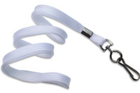 "2135-3778 White 3/8"" Flat Braid Woven Lanyard W/ Black-oxide Swivel Hook - Qty. 100"