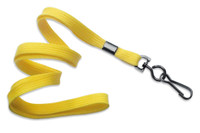 "2135-3779 Yellow 3/8"" Flat Braid Woven Lanyard W/ Black-oxide Swivel Hook - Qty. 100"