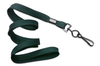 "2135-3784 Forest Green 3/8"" Flat Braid Woven Lanyard W/ Black-oxide Swivel Hook - Qty. 100"