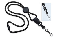 "2135-4573 Black 1/4"" (6 mm) Round Lanyard W/ Breakaway, Round Slider & Detach Swivel Hook - Qty. 100"