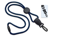 "2135-4583 Navy Blue 1/4"" (6 mm) Round Lanyard W/ Breakaway, Round Slider & Detach Plastic Swivel Hook - Qty. 100"